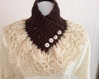 Neck Warmer in Flecked Chocolate Brown with Cream Color Lace Crochet Trim - Scarf Alternative