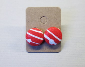 "5/8"" Size 24 Red/White Stripes and Dots Fabric Covered Button Earrings"
