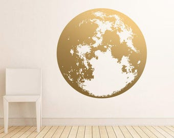 Moon Wall Decal   Gold Wall Decals, Unique Modern Decor, Silver Decals,  Vinyl