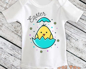 Easter Hatching Egg, Baby Bodysuit, Funny Easter Shirt, Yellow Chick Easter, Hatchling, Easter Bunny for Babies, Toddlers, One Piece