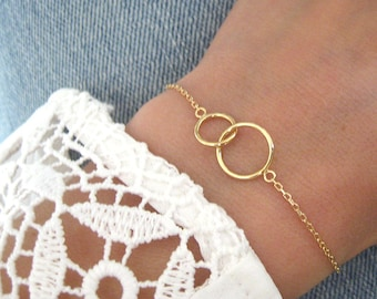Bracelet two circles intertwined rings well plated 750/000 Gold 18kt