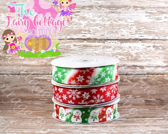 Christmas Snowman and Snowflakes on 7/8 inch Ribbon
