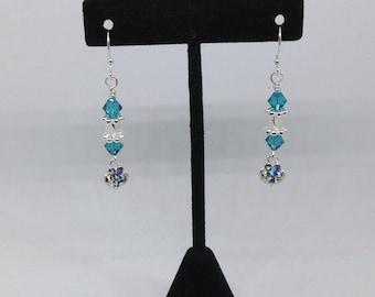 Swarokski teal dangling sparkling hearts earrings