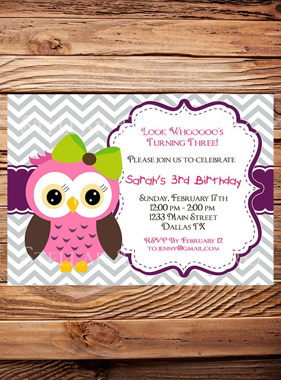 Owl birthday invitation girl birthday invite owl boy like this item filmwisefo Image collections