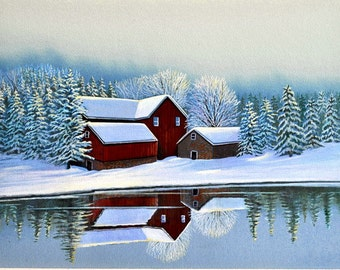 Red Barn Painting, Snow Scene, Landscape, Watercolor Print, 11 x 14, Home Decor, by artist Doug Walpus, Wall Decor, Office Decor, Gifts