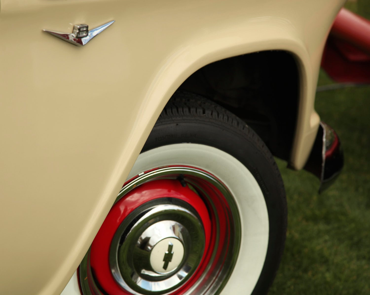 Vintage Chevy V8 With White Wall Tires Photo Taken at the Air