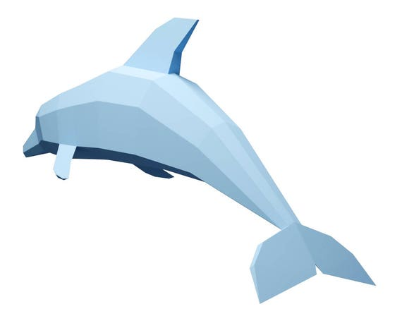 paper craft dolphin big model diy papercraft paper model pepakura low poly template pdf paper sculpture pattern 3d paper dolphin model