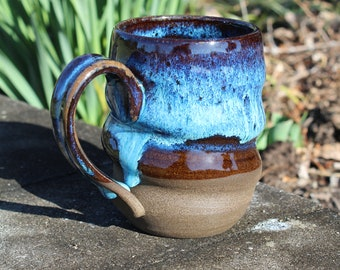 Handmade Stoneware Bright Blue Spiral Mug, 16 oz