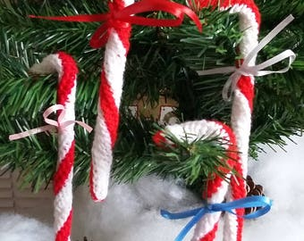 Hand knitted christmas candy canes