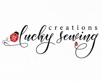 Ladybug Logo. Sew Logo. Sewing Logo. Stitch Logo. Needle Logo. Sew Creation Logo. Ladybird Logo. Button Logo. Handmade Shop Logo.