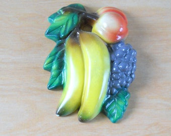 Vintage Chalkware Fruit • Kitchen Decor Banana Grapes Peach