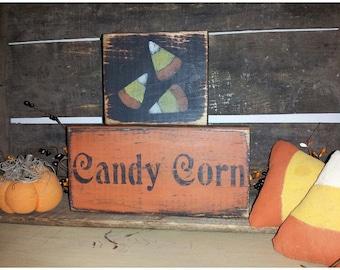 Primitive Candy Corn Blocks Sign Fall Halloween