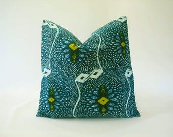 African fabric-Original Vlisco Wax-Ankara-cushion cover-pillow cover-cotton-Turquoise Blue-Lemon Yellow-White-Teal Blue