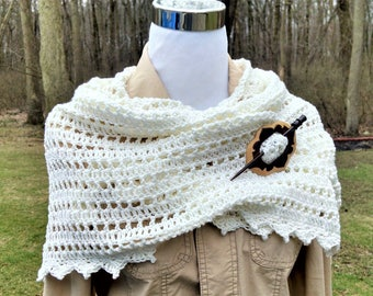 crochet cotton white shawl, Mother's Day gift, bride or mother of the bride triangle wrap, shoulder drape neck wrap, gifts for her