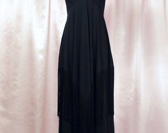 Vintage Black 70s Maxi Dress Long Fringe Detail