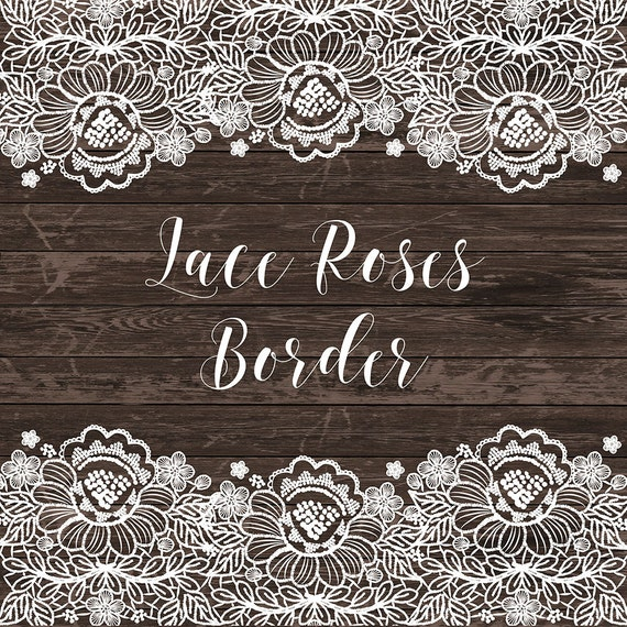 Lace Border Rustic Wedding Invitation Frame Clipart White Navy Blue Blush Vintage