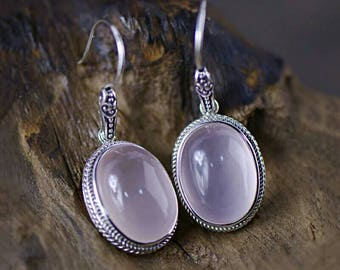 925 Silver Round Earring Natural Pink Stone 100% S925 Sterling Silver boucle Drop Earrings for Women Jewelry free delivery