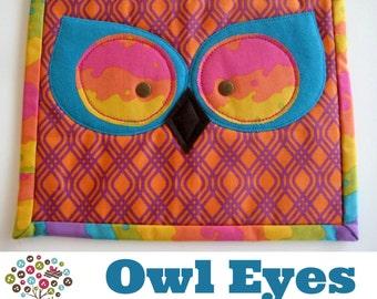 Owl Eyes Mini Quilt Mug Rug Pattern- Instant Download