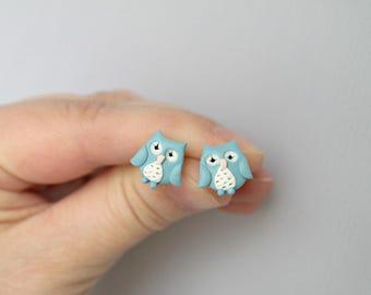 Blue owl - new lightweight earrings