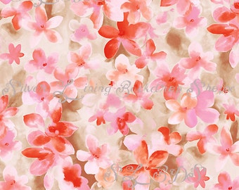 5ft x 6ft  Photography Backdrop Hand Painted Look for Newborns, Babies and Children -- Blossom Floral Pink