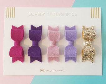 Berry/Purple OMBRE Felt hair bow set - 100% pure wool - perfect for all ages