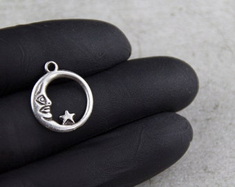 10x moon charms antique silver (ZM12)