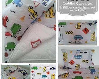 Toddler Comforter Set - Cars & Trucks Metro Gray, Custom Bedding, Pillow Case, READY to SHIP Kids Comforter