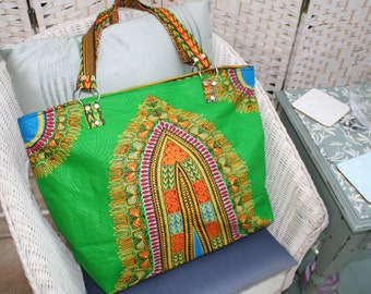 Tote Bag (Large) - Zipped Top - Traditional African Kitenge Fabric - Green Multi