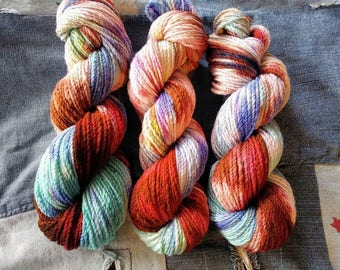 Hand Spun Yarn - Mermaid Barista, Merino Wool, hand dyed brown turquoise beige white blue purple chartreuse lime aqua