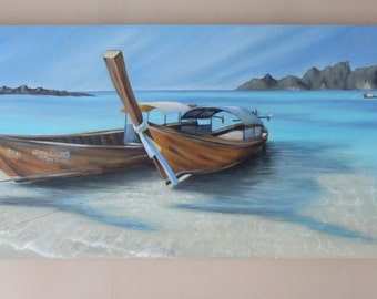 Thai Longtail Boats Painting -Original Oil Painting of Thai Longtail Boats by Suzie Nichols (beach sea sand tropical island Thailand exotic)