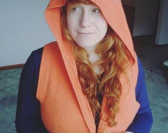 Orange Cashmere Open Cardigan/ Long Cashmere Cardigan/ Orange Cashmere Sweater Large