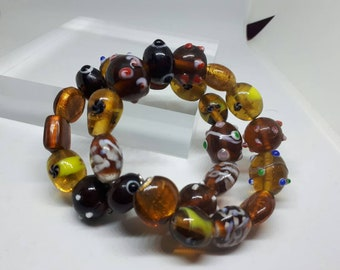 Amber glass bead memory wire bracelet
