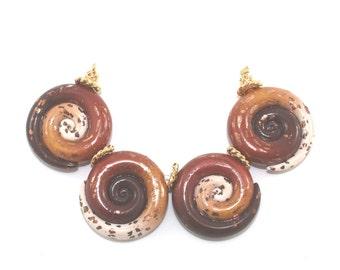 Bohemian jewelry beads always earthy DIY bracelet Christmas gift stocking stuffers polymer clay beads craft supply round spiral jewelry 4pcs