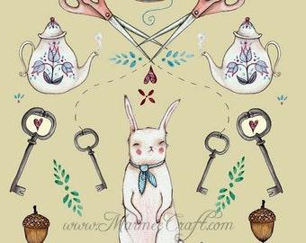 """MarmeeCraft bunny acorn key art print, """"Favorite Things"""""""