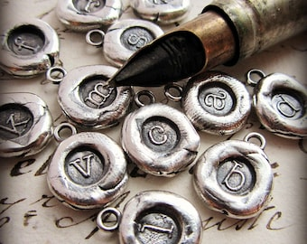 Small Initial Wax Seal Charm - Personalized letter of your choice - M125