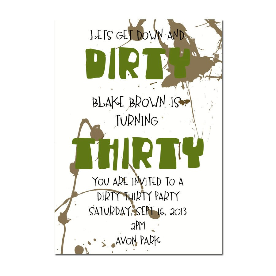 DIRTY THIRTY PARTY invitation Surprise Party invitation