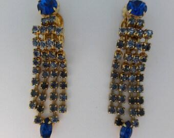 Royal Blue and Light Blue Rhinestone Vintage Clip On Earrings