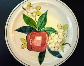Red Wing Pottery/Hand Painted Ceramic Red Wing Pottery Plate/Normandy Pattern/Red Wing Pottery Apple Blossom Plate/Red Wing Normandy Plate