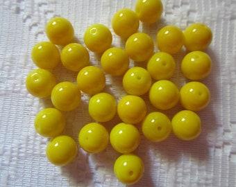 25  Bright Sunny Yellow Round Glass Beads  8mm