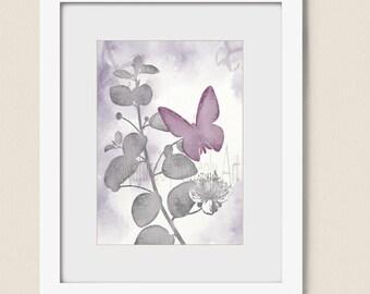5 x 7 Print, Pink and Gray Girls Room Art, Butterfly Wall Art Print, Gray and Pink Room Decor, Butterfly Art Print (246)