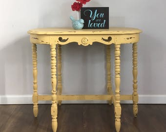 Chippy Paint Entry Table Farmhouse Hall Table Yellow