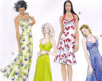 McCall's 4444 Sewing Pattern, Laura Ashley Halter Dress in Two Lengths, Uncut, Misses 4-10