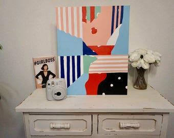 "16""x20"" Geometric Abstract Acrylic Painting"