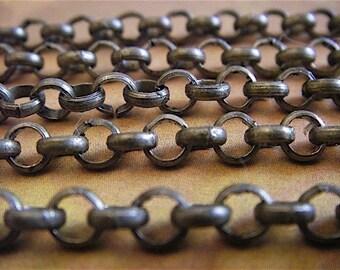 Antique Bronze Chain - Artemus Gordon - 5 Foot - Steampunk - Rustic - Antique Bronze Cross Chain