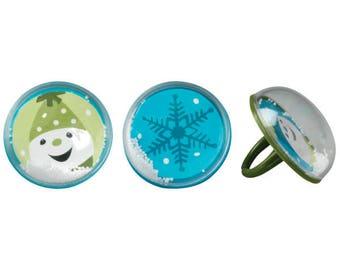 SNOW GLOBE Cupcake Rings