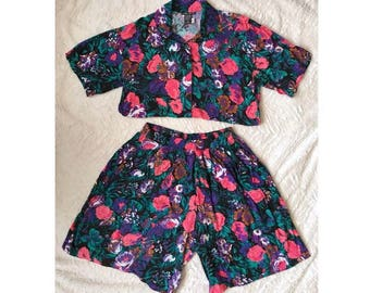Vintage 80s 90s Floral Two Piece Jumpsuit Romper - Sz SMALL / MED - High Waist Shorts & Button Down