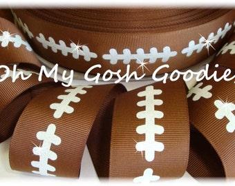"FOOTBALL GLITTER STITCH Tic Toc Cheer Team grosgrain ribbon - 1.5"", 2 1/4"", 3"" - 5 Yards - Oh My Gosh Goodies Ribbon"