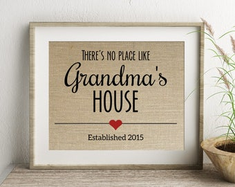 There's No Place Like Grandma's House Established Burlap Print | Personalized Grandparents Gift | Pregnancy Announcement | Grandmother Gift