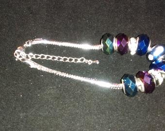 No. 30036 Wild Purple and Green Large Hole Beaded Bracelet