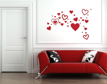 Set of 35 Hearts Wall Decals | valentines day heart cut outs love heart decals hearts stickers tiny hearts heart wall decals sweetheart